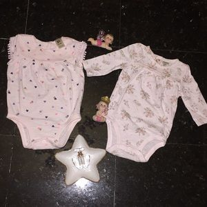 Lot of two baby girl bodysuits, size 0-3.